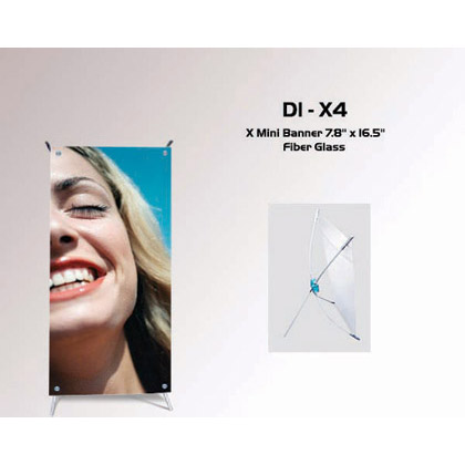 "DI-X4 X Mini Banner Stand 7.8""x16.5"" Fiber Glass"