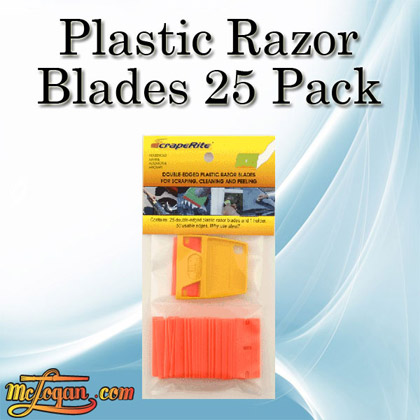 Plastic Razor Blades 25 Pack 1 Holder